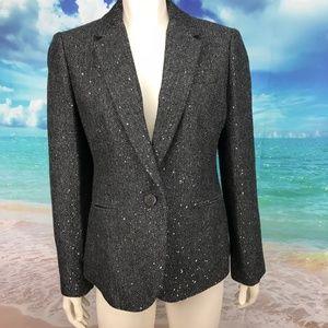 J.Crew Gray Sparkle Campbell Blazer Size 12 Wool